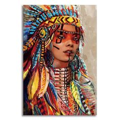 Add the touch of native American art to your home decor with this beautiful native American woman canvas print. Canvas art prints are a stylish and classic way to add color and style to your home. Our high quality canvases and posters are one Native American Paintings, Native American Pictures, Native American Women, American Indians, Native Indian, Native Art, Indian Art, Art Prints For Home, Wall Art Designs