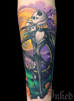 Amazing, Colorful Jack Skellington from Tim Burton's The Nightmare Before Christmas by Joe Matisa. #InkedMagazine