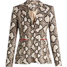 Altuzarra Fenice python-print cotton-blend blazer ($1,615) ❤ liked on Polyvore featuring outerwear, jackets, blazers, animals, slim fit jackets, blazer jacket, brown blazer jacket, slim blazer and snake print jacket