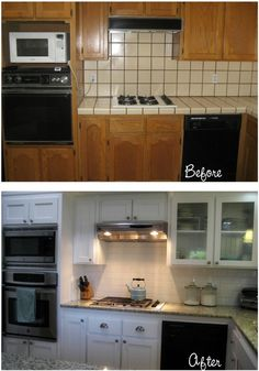 Great remodel of a typical 1980s enclosed kitchen...though I would install a oven/stove appliance instead of the setup here.