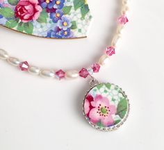Broken China Pendant Necklace Jewelry Chintz by DinnerWearJewelry