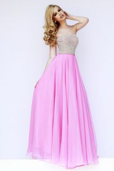 Discount Sherri Hill 8551 Strapless Pink Beaded A Line Chiffon Prom Dress Prom Dresses Long Pink, Gorgeous Prom Dresses, Open Back Prom Dresses, Prom Dresses 2015, Chiffon Evening Dresses, Prom Dresses For Sale, Designer Prom Dresses, Prom Dresses Online, Prom Party Dresses