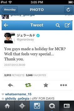 Happy MCR day!! Gerard knows about it and he's thankful! Now get the band back together already!!!!!!