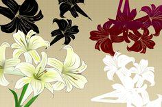 とってもキレイで純粋なゆりのイラスト素材☆奇麗なゆりを手描きで描いた柄や模様素材にも使える花のフリー素材集☆