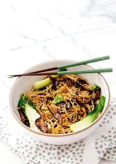 Vegan Shitake Bok Choy Soba Noodle Bowl - Vegan Dinner Recipes - Earth Balance