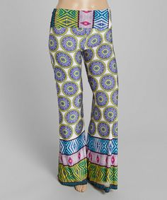 Look what I found on #zulily! Yellow & Magenta Arabesque Fold-Over Palazzo Pants - Plus by MOA Collection #zulilyfinds