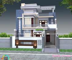 5 bedroom house plan architecture (Kerala home design) Modern Exterior House Designs, Latest House Designs, Cool House Designs, Modern House Design, 3 Storey House Design, Bungalow House Design, Kerala House Design, Indian Home Design, Front Wall Design