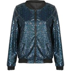 Navy Sequins Embellished Bomber Jakect ($51) ❤ liked on Polyvore featuring outerwear