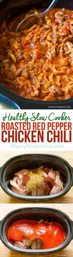 Extra Off Coupon So Cheap Healthy Slow Cooker Roasted Red Pepper Chicken Chili Recipe (Gluten Free & Dairy Free) Slow Cooker Roast, Healthy Slow Cooker, Slow Cooker Chicken, Slow Cooker Recipes, Cooking Recipes, Crockpot Meals, Cooking Food, Crockpot Chicken Chili, Dinner Crockpot