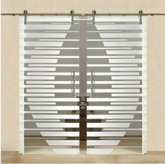 Double Sliding Glass Barn Door + Frosted Lines Design Sliding Glass Barn Doors, Sliding Door Curtains, Double Glass Doors, Wooden Door Hangers, Wooden Doors, Room Doors, Closet Doors, Internal Door Handles