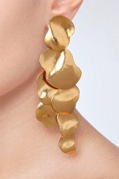 DESIGNER: HERVE VAN DER STRAETEN DETAILS HERE: Hammered Gold-Plated Vibrations Earrings