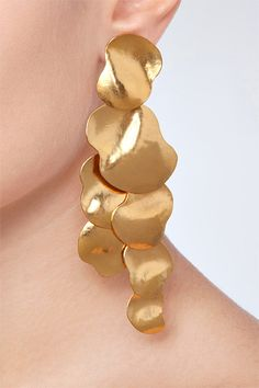 DESIGNER: HERVE VAN DER STRAETEN DETAILS HERE: Hammered Gold-Plated Vibrations Earrings
