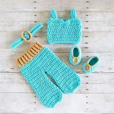 Crochet Baby Princess Jasmine Pants Top Shirt Headband Shoes Set Newborn Infant Baby Handmade Costume Dress Up Photography Photo Prop Baby Shower Gift Present