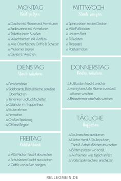 Weekly cleaning plan – cleaning every day for half an hour for a clean room … – tips Weekly Cleaning Plan, Deep Cleaning Tips, House Cleaning Tips, Spring Cleaning, Cleaning Hacks, Cleaning Schedules, Cleaning Painted Walls, Budget Planer, Glass Cooktop