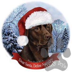 Chocolate Labrador Howliday Dog Christmas Ornament http://doggystylegifts.com/products/chocolate-labrador-howliday-dog-christmas-ornament