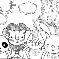 Panda Lion Dog And Bunny Forest Animals Coloring Pages Free Instant Download