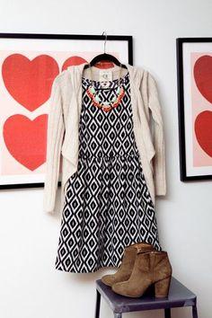 ikat dress with booties and a cardigan. Fun! <3