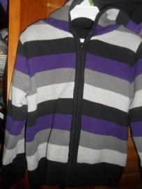 NWT boys 3T purple black grey striped zip up hooded knit sweater $10.99 SHIPPED