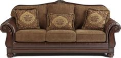 Two Tone Traditional Sofa with Wood Trim Accents
