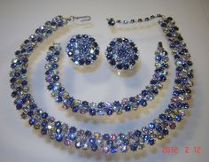 trifari blue aurora ab rhinestone necklace, bracelet and earring set