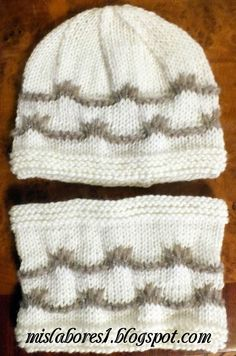 MIS LABORES: GORRO Y CUELLO DE LANA PARA NIÑOS. MOTIVO DE ONDA.... Knitting For Kids, Crochet, Knitted Hats, Knitting Patterns, Winter Hats, Sony, Cata, Long Scarf, Amor