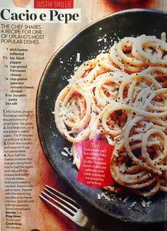 Cacio e Pepe Pasta. By Chef Justin Smillie of Upland In NYC. Simple Pasta done Right! Bucatini, pecorino cheese, black pepper, butter, sea salt. Italian ideas.