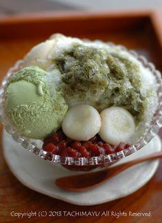 Japanese shaved ice with matcha ice cream