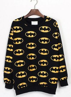 Black Long Sleeve Batman Print Sweatshirt