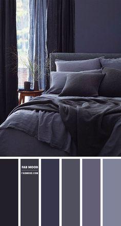 Dark Gray Bedroom, Dark Blue Bedrooms, Blue Master Bedroom, Blue Rooms, Grey Bedroom Colors, Bedroom Decor Master For Couples, Couple Bedroom, Room Ideas Bedroom, Colorful Interior Design