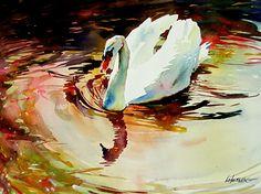 White Swan by David Lobenberg Watercolor ~ x