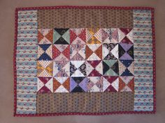 Little Quilt - Broken Dishes in Civil War Reproduction Fabrics.