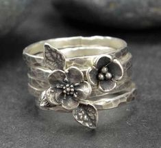 Flower Ring, Sterling Silver Forget Me Not Flower Rings, Metalsmith Jewelry