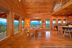 The Deckhouse, a cabin with panoramic views and wraparound decks, close to Pigeon Forge, is our luxury rental cabin in the Smoky Mountains. Smoky Mountain Cabin Rentals, Smoky Mountains Cabins, Cabin Kitchens, Pigeon Forge, House Rooms, Log Homes, Picnic Table, My Dream Home, Dining Area