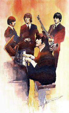TitleThe Beatles 01   Artist: Yuriy Shevchuk Medium:Painting - Watercolor On Paper