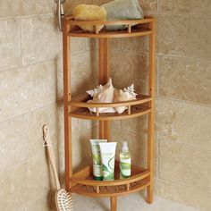 Teak Corner Stand Shelf Unit