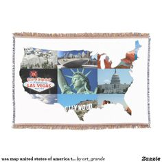 usa map united states of america travel tourism throw blanket