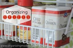 Here is how I re-organized my spices using two pull down spice racks. :: Hometalk