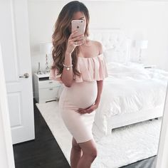 Simple Cheap Chic, Shop Pink Off Shoulder Ruffle Bodycon Maternity For Babyshower Elegant Party Mini Dress online. Cute Maternity Outfits, Stylish Maternity, Maternity Pictures, Maternity Wear, Maternity Fashion, Maternity Dresses, Maternity Style, Maxi Dresses, Shower Outfits