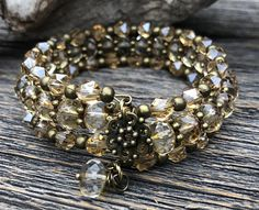 Sparkling Champagne Faceted Czech Glass and Crystal Multi