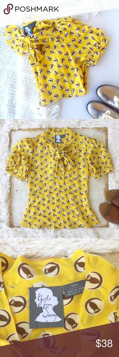 """Anthropologie Silk Owl Print Blouse One of my favorite Anthro pieces of all time! Bright yellow silk with a repeating owl print by Girls From Savoy. Fitted at waist. Tie at neck. Side zip. Easy to dress up or down - so feminine & fun. Excellent condition. Pet free, smoke free home.  •size :: 4  •measurements :: pit to pit: appx. 17"""" / waist :: appx. 14"""" / shoulder to bottom hem: appx. 23.5""""  •content :: 100% silk  •care :: dry clean  •yes to bundles, just ask! Anthropologie Tops Blouses"""