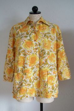 JANTZEN Vintage 60's Gold Flower Print 3/4 Sleeve Lightweight Jacket Made in USA, $30.00