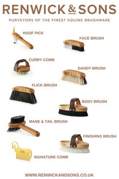 Each tool in our beautifully crafted equine brushware kit has been thoughtfully . - Each tool in our beautifully crafted equine brushware kit has been thoughtfully designed to be the - Horse Riding Tips, Horse Gear, Horse Horse, Breyer Horses, Horse Information, Horse Facts, Facts About Horses, Horse Care Tips, Horse Supplies