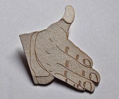 Unusual Laser Cut Business Card- shake my hand.