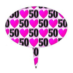 50TH BIRTHDAY LOVE HEARTS CAKE TOPPERS Celebrate turning 50 with these unique and festive 50th birthday party goods. http://www.zazzle.com/collections/50th_birthday_party_goods-119351019344731483?rf=238246180177746410 #50yearsold #Happy50thbirthday #50thbirthdaygift #50thbirthdayidea #Happy50th #50thpartygoods