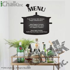 Kitchen Menu Planner Chalkboard Sticker Wall Decal for Home or Office - Modern Chalk Blackboard Kitchen Menu Chalkboard