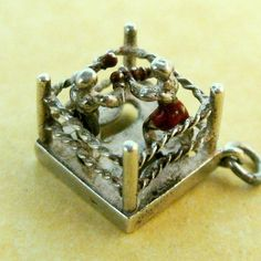 Vintage English Silver Movable Enameled Charm Boxers in Ring ~ Great Fun! #Unbranded #Vintage
