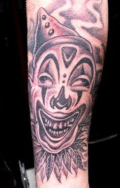 Black Clown painted by R. The Tattoo by Cartoon! This was my Tattoo by Cartoon, and who else do you do you go to for a Clown?