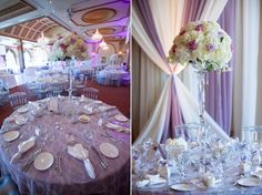 Royal Ambassador wedding reception decor with lavender, cream and silver colour palette Silver Color Palette, Wedding Reception Decorations, Table Decorations, Toronto Wedding, Wedding Planning, Wedding Photography, Boston, Lavender, Colour