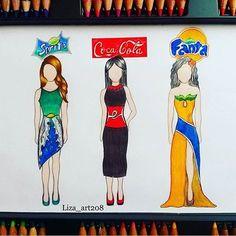 Sprite, Coke, Fanta! Favourite?! By: @liza_art208 _ Fashion design