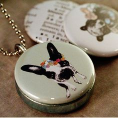 Picture Locket  Boston Terrier Bear  Recycled by by polarity, $24.00